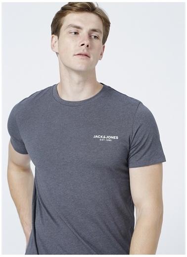 Jack & Jones Jack & Jones O Yaka Koyu Gri Erkek T-Shirt Gri